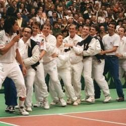 Yannick Noah capitaine de l'équipe de france 1991